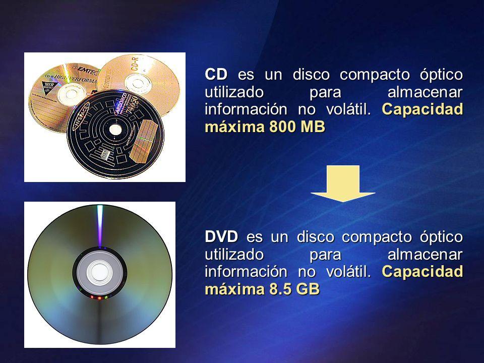CD es un disco compacto óptico utilizado para almacenar información no volátil. Capacidad máxima 800 MB DVD es un disco compacto óptico utilizado para