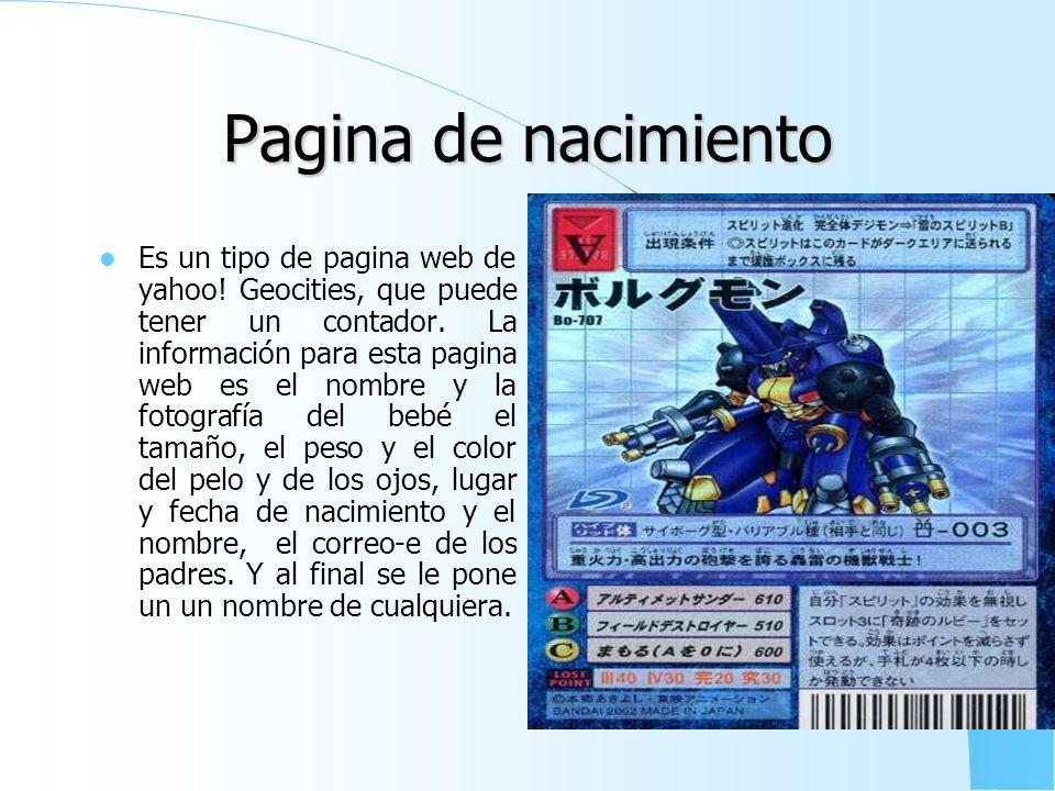 Pagina de fotografías Es un tipo de pagina web de geocities, que puede tener un contador. La información para esta pagina es tener cuatro fotos o mas