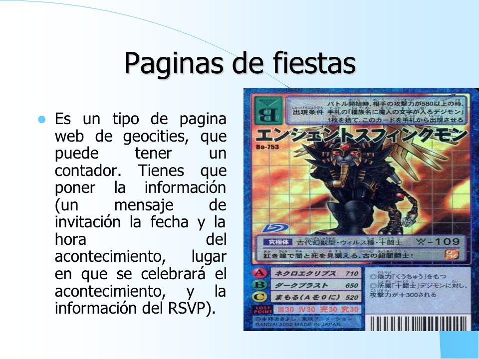 Pagina de nacimiento Es un tipo de pagina web de yahoo! Geocities, que puede tener un contador. La información para esta pagina web es el nombre y la