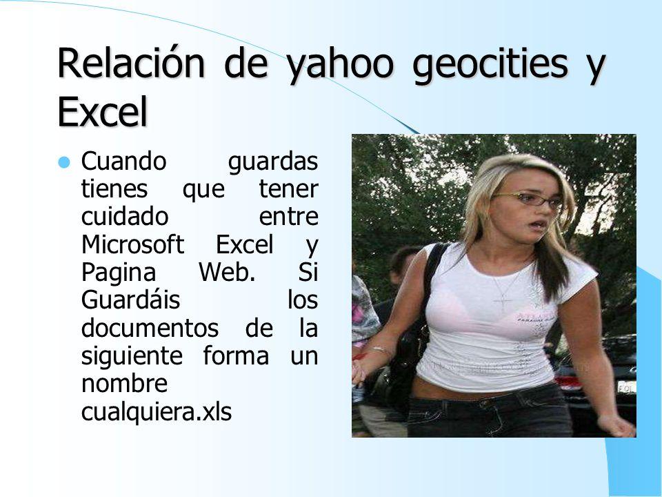 Relación de Yahoo Geocities y Word tipo II Cuando guardas tienes que tener cuidado entre Microsoft Word y Pagina Web. Si Guardáis los documentos de la