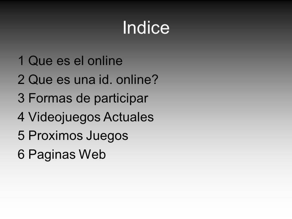 Indice 1 Que es el online 2 Que es una id. online? 3 Formas de participar 4 Videojuegos Actuales 5 Proximos Juegos 6 Paginas Web
