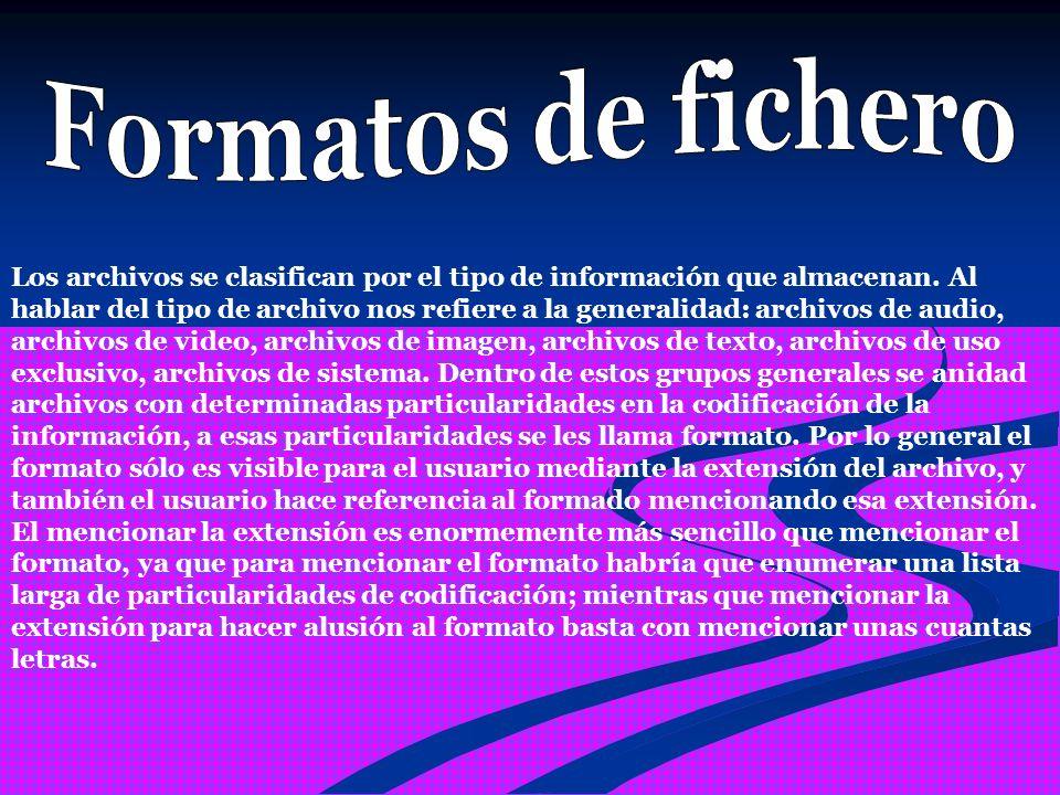 Los archivos se clasifican por el tipo de información que almacenan.