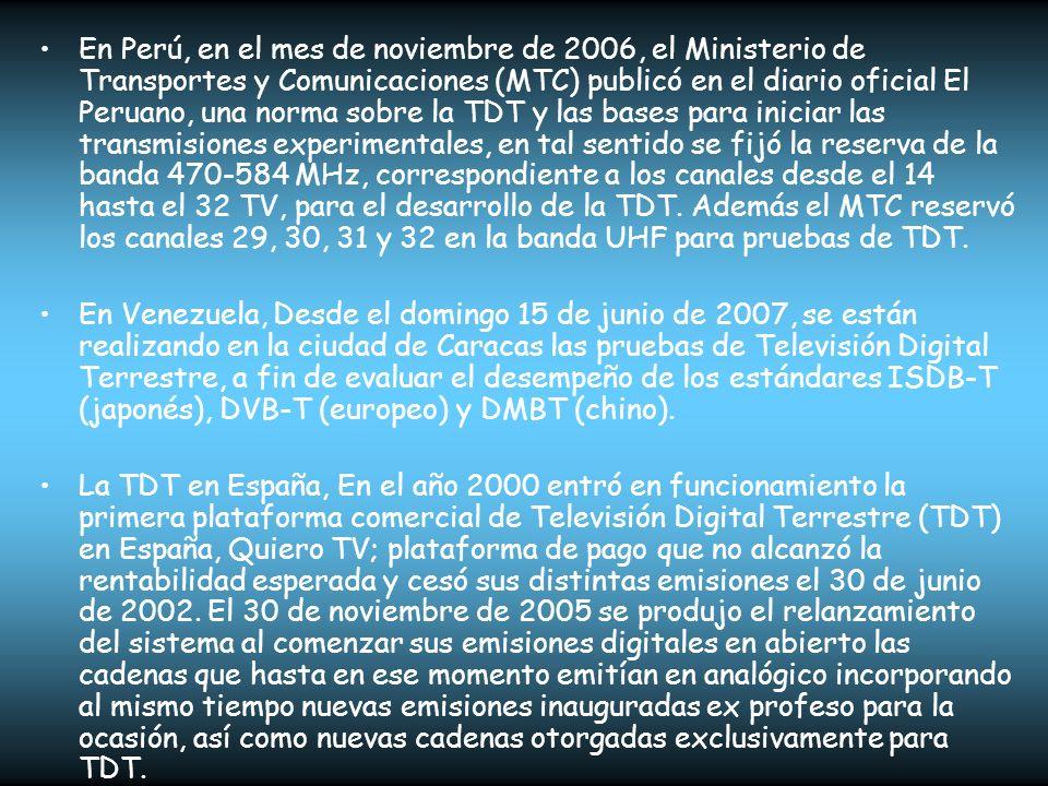 En Perú, en el mes de noviembre de 2006, el Ministerio de Transportes y Comunicaciones (MTC) publicó en el diario oficial El Peruano, una norma sobre