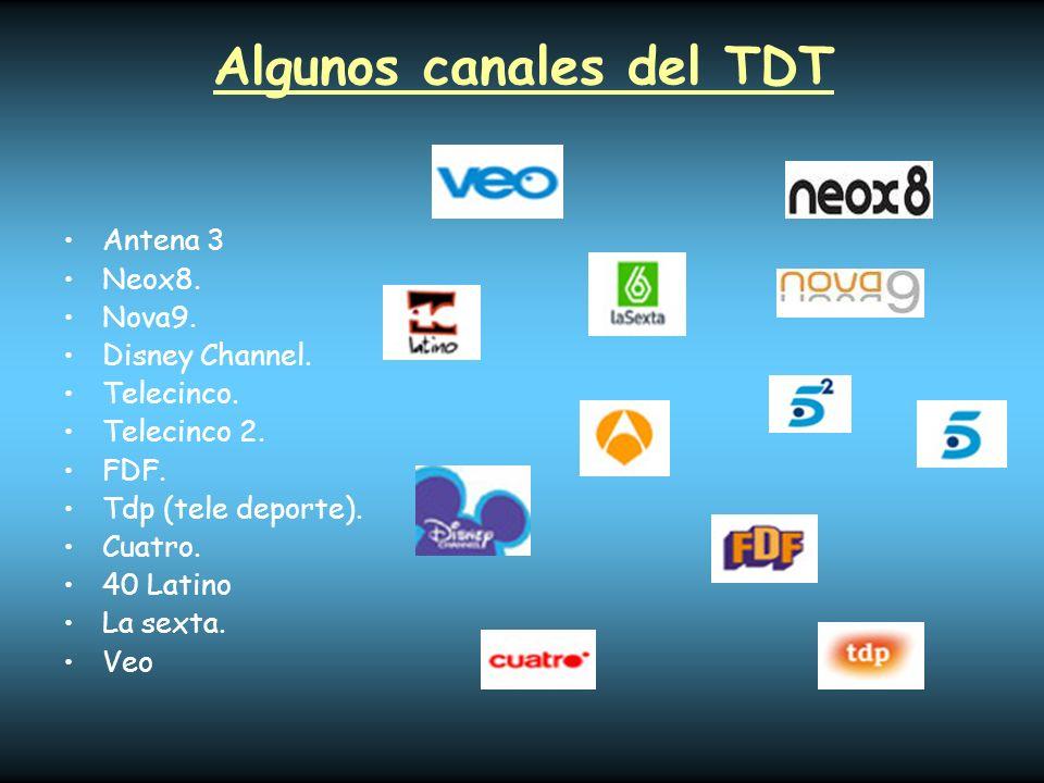 Algunos canales del TDT Antena 3 Neox8. Nova9. Disney Channel. Telecinco. Telecinco 2. FDF. Tdp (tele deporte). Cuatro. 40 Latino La sexta. Veo