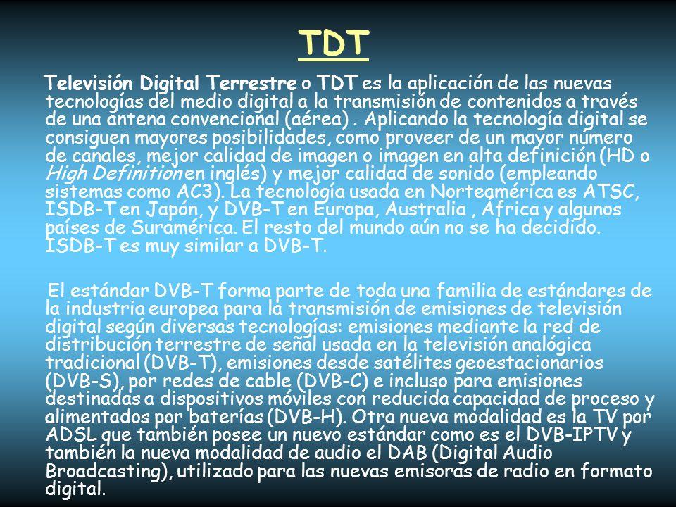 TDT Televisión Digital Terrestre o TDT es la aplicación de las nuevas tecnologías del medio digital a la transmisión de contenidos a través de una ant