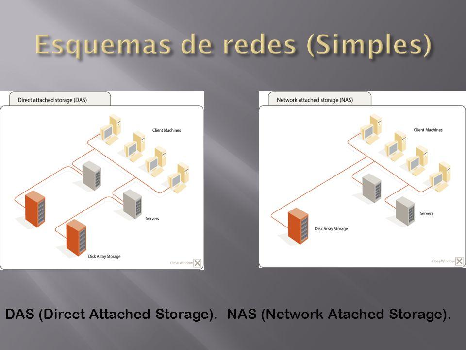 DAS (Direct Attached Storage).NAS (Network Atached Storage).
