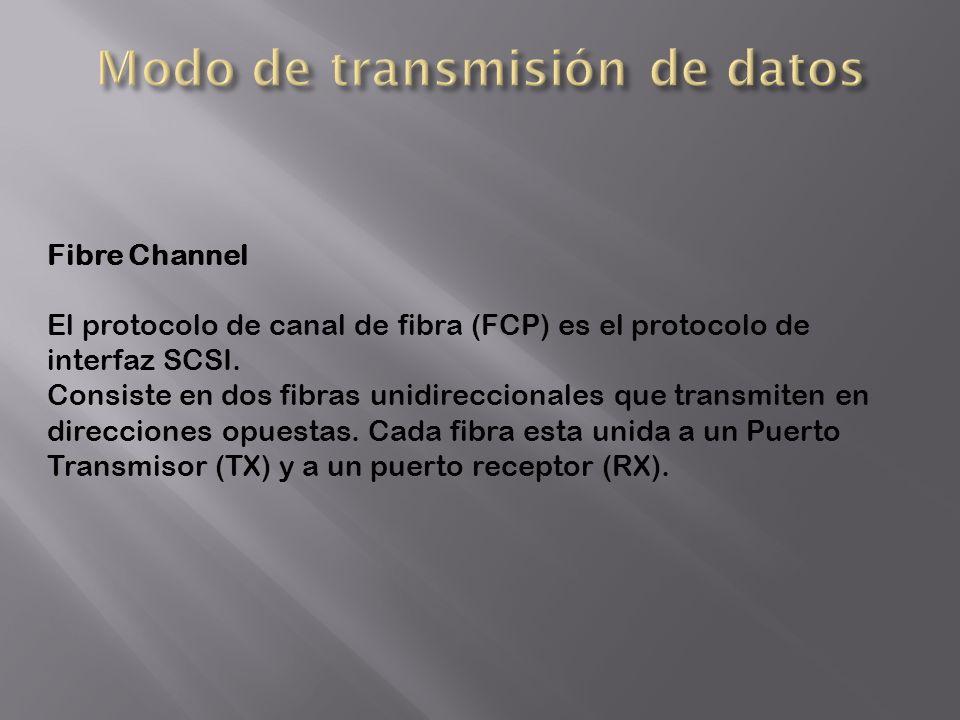 Fibre Channel El protocolo de canal de fibra (FCP) es el protocolo de interfaz SCSI. Consiste en dos fibras unidireccionales que transmiten en direcci