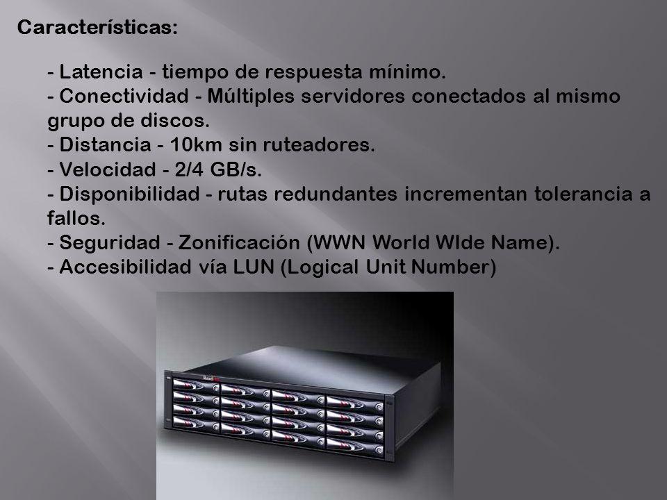 Características: - Latencia - tiempo de respuesta mínimo. - Conectividad - Múltiples servidores conectados al mismo grupo de discos. - Distancia - 10k