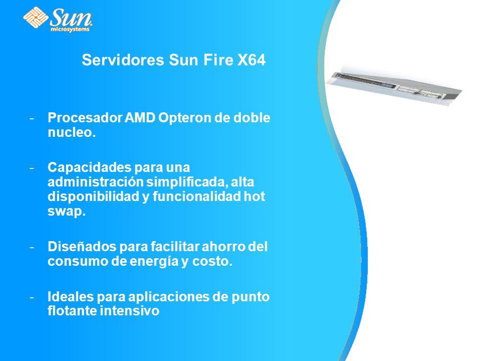 Servidores Sun Fire X64 -Procesador AMD Opteron de doble nucleo.