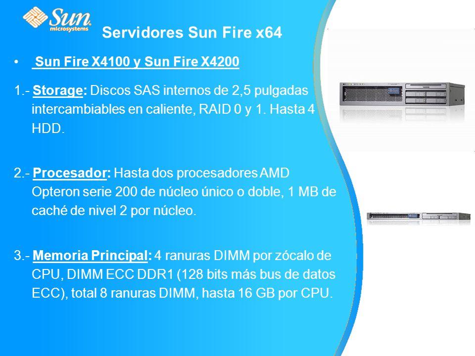Sun Fire X4100 y Sun Fire X4200 1.- Storage: Discos SAS internos de 2,5 pulgadas intercambiables en caliente, RAID 0 y 1.