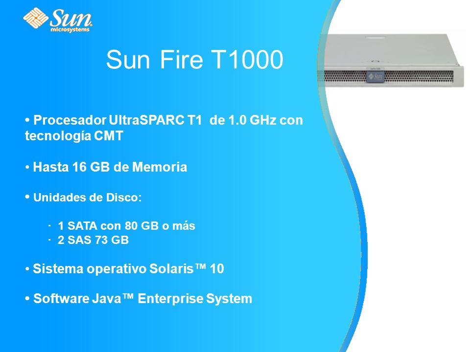 Procesador UltraSPARC T1 de 1.0 GHz con tecnología CMT Hasta 16 GB de Memoria Unidades de Disco: · 1 SATA con 80 GB o más · 2 SAS 73 GB Sistema operativo Solaris 10 Software Java Enterprise System Sun Fire T1000