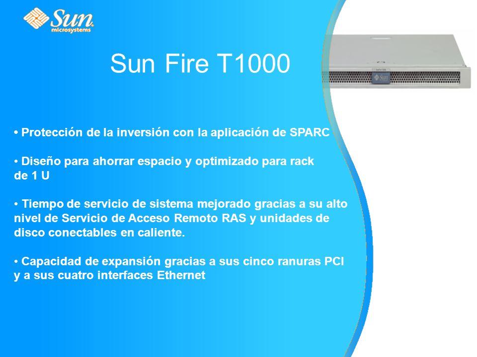 Protección de la inversión con la aplicación de SPARC Diseño para ahorrar espacio y optimizado para rack de 1 U Tiempo de servicio de sistema mejorado gracias a su alto nivel de Servicio de Acceso Remoto RAS y unidades de disco conectables en caliente.