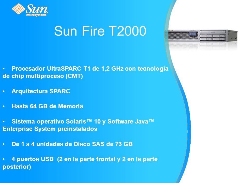 Procesador UltraSPARC T1 de 1,2 GHz con tecnología de chip multiproceso (CMT) Arquitectura SPARC Hasta 64 GB de Memoria Sistema operativo Solaris 10 y Software Java Enterprise System preinstalados De 1 a 4 unidades de Disco SAS de 73 GB 4 puertos USB (2 en la parte frontal y 2 en la parte posterior) Sun Fire T2000