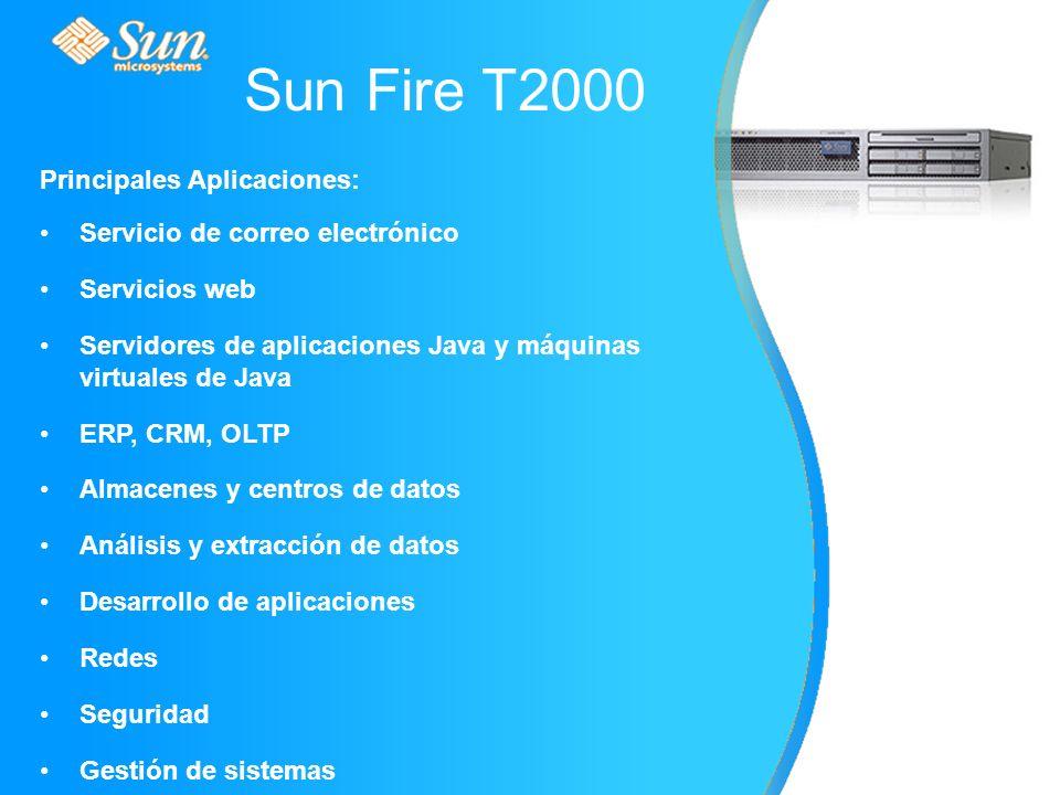 Sun Fire T2000 Principales Aplicaciones: Servicio de correo electrónico Servicios web Servidores de aplicaciones Java y máquinas virtuales de Java ERP, CRM, OLTP Almacenes y centros de datos Análisis y extracción de datos Desarrollo de aplicaciones Redes Seguridad Gestión de sistemas