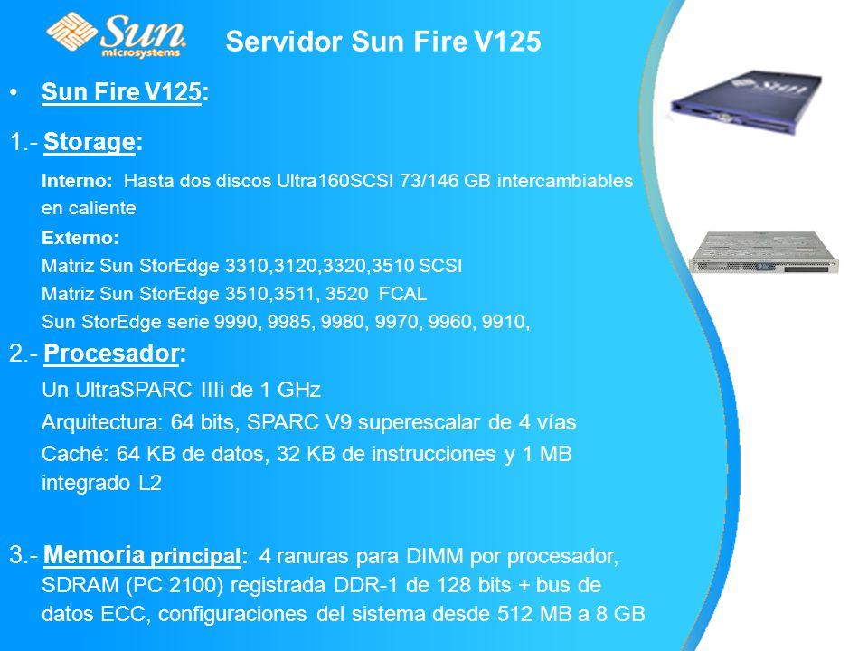 Servidor Sun Fire V125 Sun Fire V125: 1.- Storage: Interno: Hasta dos discos Ultra160SCSI 73/146 GB intercambiables en caliente Externo: Matriz Sun StorEdge 3310,3120,3320,3510 SCSI Matriz Sun StorEdge 3510,3511, 3520 FCAL Sun StorEdge serie 9990, 9985, 9980, 9970, 9960, 9910, 2.- Procesador: Un UltraSPARC IIIi de 1 GHz Arquitectura: 64 bits, SPARC V9 superescalar de 4 vías Caché: 64 KB de datos, 32 KB de instrucciones y 1 MB integrado L2 3.- Memoria principal: 4 ranuras para DIMM por procesador, SDRAM (PC 2100) registrada DDR-1 de 128 bits + bus de datos ECC, configuraciones del sistema desde 512 MB a 8 GB