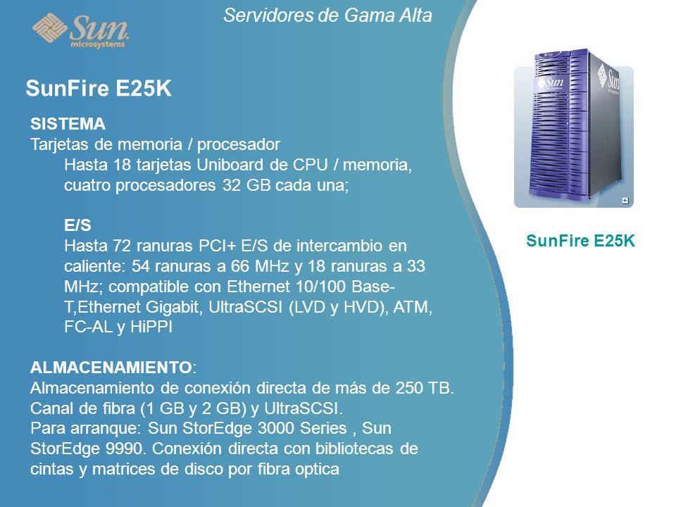 Servidores de Gama Alta SunFire E25K SISTEMA Tarjetas de memoria / procesador Hasta 18 tarjetas Uniboard de CPU / memoria, cuatro procesadores 32 GB cada una; E/S Hasta 72 ranuras PCI+ E/S de intercambio en caliente: 54 ranuras a 66 MHz y 18 ranuras a 33 MHz; compatible con Ethernet 10/100 Base- T,Ethernet Gigabit, UltraSCSI (LVD y HVD), ATM, FC-AL y HiPPI ALMACENAMIENTO: Almacenamiento de conexión directa de más de 250 TB.