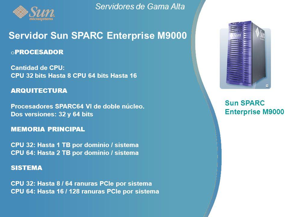 Servidores de Gama Alta Sun SPARC Enterprise M9000 Servidor Sun SPARC Enterprise M9000 o PROCESADOR Cantidad de CPU: CPU 32 bits Hasta 8 CPU 64 bits Hasta 16 ARQUITECTURA Procesadores SPARC64 VI de doble núcleo.