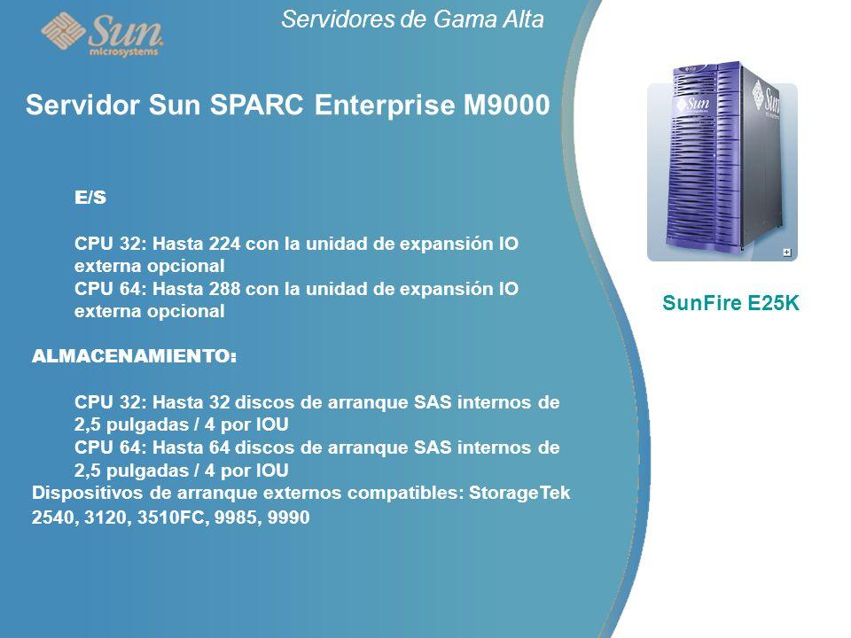 Servidores de Gama Alta SunFire E25K Servidor Sun SPARC Enterprise M9000 E/S CPU 32: Hasta 224 con la unidad de expansión IO externa opcional CPU 64: Hasta 288 con la unidad de expansión IO externa opcional ALMACENAMIENTO: CPU 32: Hasta 32 discos de arranque SAS internos de 2,5 pulgadas / 4 por IOU CPU 64: Hasta 64 discos de arranque SAS internos de 2,5 pulgadas / 4 por IOU Dispositivos de arranque externos compatibles: StorageTek 2540, 3120, 3510FC, 9985, 9990