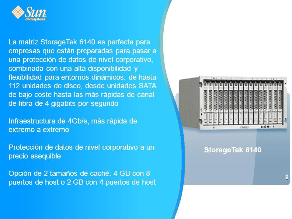 La matriz StorageTek 6140 es perfecta para empresas que están preparadas para pasar a una protección de datos de nivel corporativo, combinada con una alta disponibilidad y flexibilidad para entornos dinámicos.