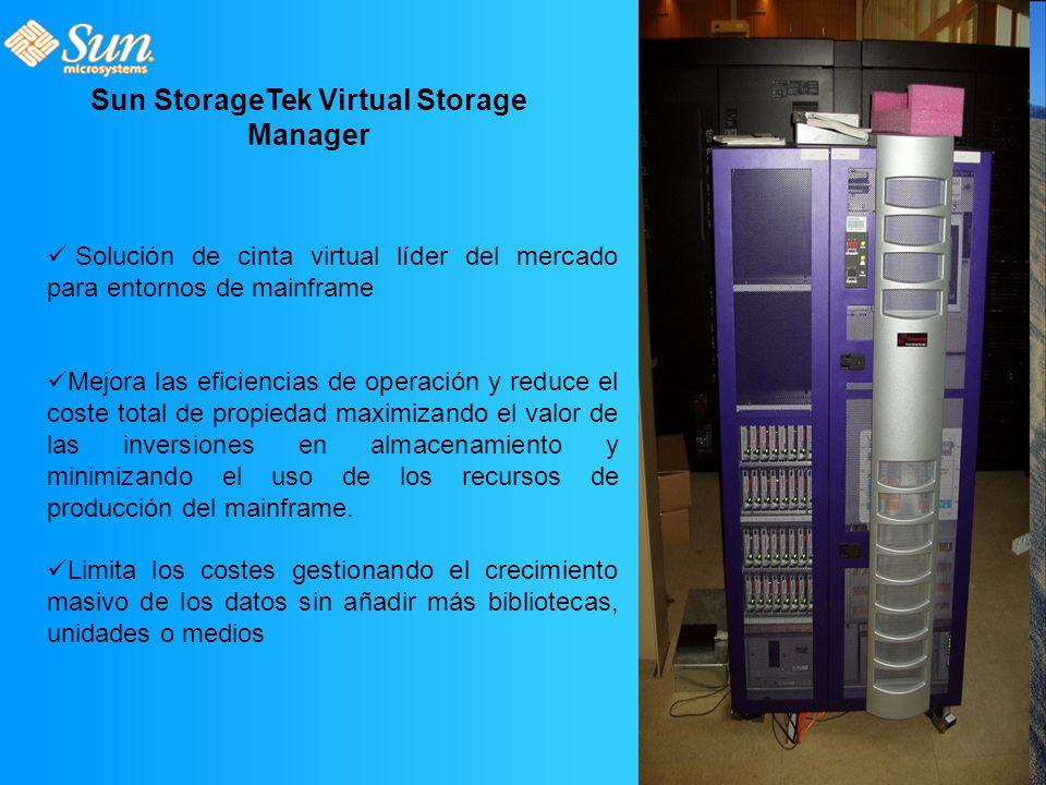 Sun StorageTek Virtual Storage Manager Solución de cinta virtual líder del mercado para entornos de mainframe Mejora las eficiencias de operación y reduce el coste total de propiedad maximizando el valor de las inversiones en almacenamiento y minimizando el uso de los recursos de producción del mainframe.