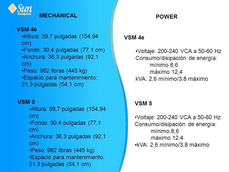 MECHANICAL VSM 4e Altura: 59,7 pulgadas (154,94 cm) Fondo: 30,4 pulgadas (77,1 cm) Anchura: 36,3 pulgadas (92,1 cm) Peso: 982 libras (445 kg) Espacio para mantenimiento: 21,3 pulgadas (54,1 cm) VSM 5 Altura: 59,7 pulgadas (154,94 cm) Fondo: 30,4 pulgadas (77,1 cm) Anchura: 36,3 pulgadas (92,1 cm) Peso: 982 libras (445 kg) Espacio para mantenimiento: 21,3 pulgadas (54,1 cm) POWER VSM 4e Voltaje: 200-240 VCA a 50-60 Hz Consumo/disipación de energía: mínimo 8,6 máximo 12,4 kVA: 2,6 mínimo/3,8 máximo VSM 5 Voltaje: 200-240 VCA a 50-60 Hz Consumo/disipación de energía: mínimo 8,6 máximo 12,4 kVA: 2,6 mínimo/3,8 máximo