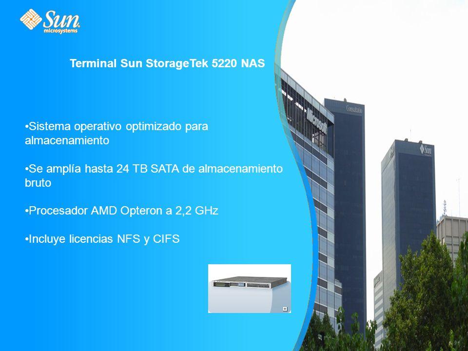 Terminal Sun StorageTek 5220 NAS Sistema operativo optimizado para almacenamiento Se amplía hasta 24 TB SATA de almacenamiento bruto Procesador AMD Opteron a 2,2 GHz Incluye licencias NFS y CIFS