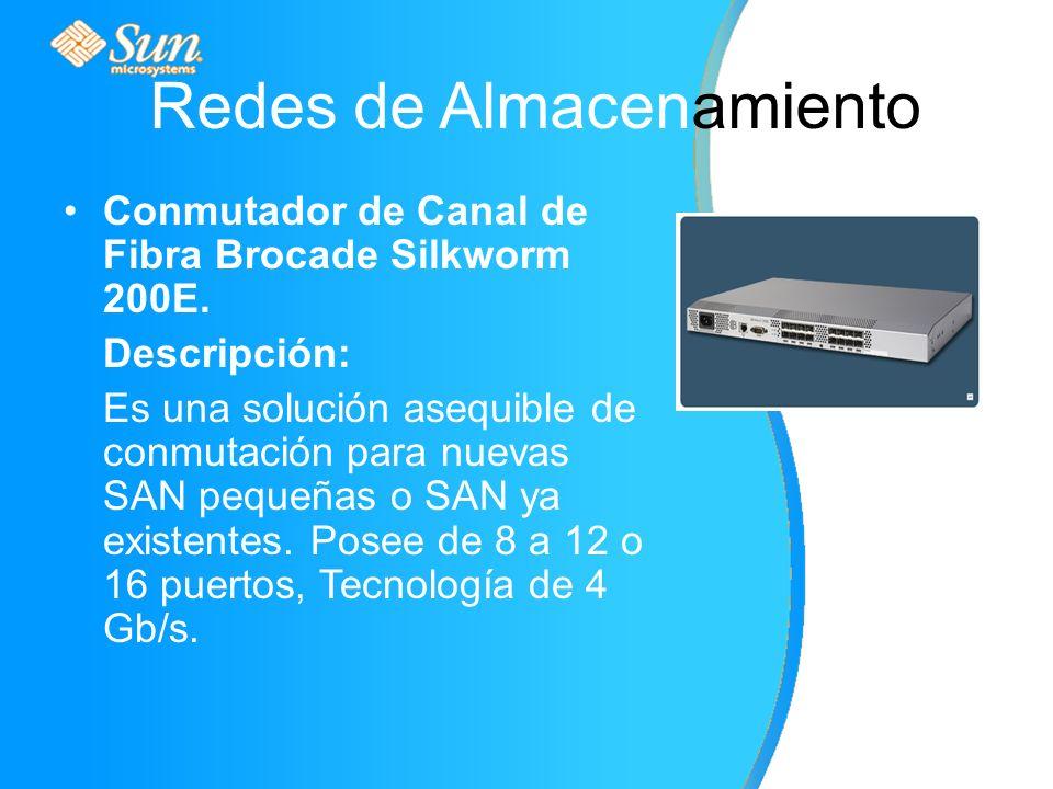 Redes de Almacenamiento Conmutador de Canal de Fibra Brocade Silkworm 200E.
