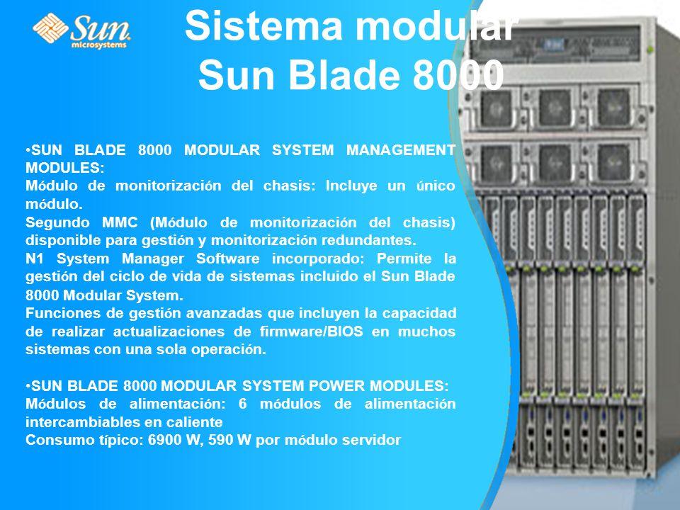 SUN BLADE 8000 MODULAR SYSTEM MANAGEMENT MODULES: M ó dulo de monitorizaci ó n del chasis: Incluye un ú nico m ó dulo.