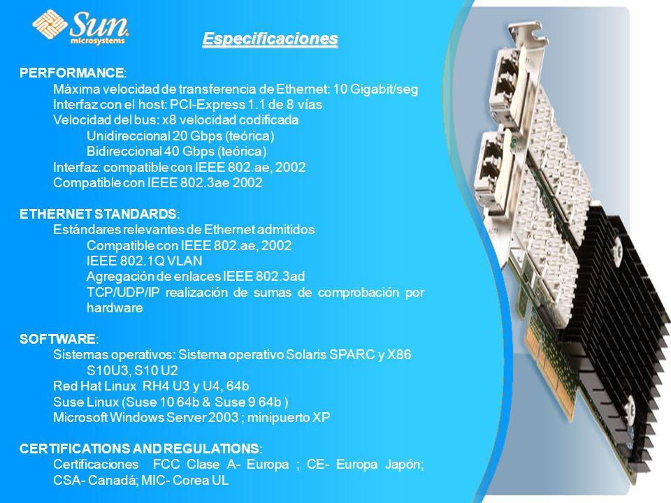 Especificaciones PERFORMANCE: Máxima velocidad de transferencia de Ethernet: 10 Gigabit/seg Interfaz con el host: PCI-Express 1.1 de 8 vías Velocidad del bus: x8 velocidad codificada Unidireccional 20 Gbps (teórica) Bidireccional 40 Gbps (teórica) Interfaz: compatible con IEEE 802.ae, 2002 Compatible con IEEE 802.3ae 2002 ETHERNET STANDARDS: Estándares relevantes de Ethernet admitidos Compatible con IEEE 802.ae, 2002 IEEE 802.1Q VLAN Agregación de enlaces IEEE 802.3ad TCP/UDP/IP realización de sumas de comprobación por hardware SOFTWARE: Sistemas operativos: Sistema operativo Solaris SPARC y X86 S10U3, S10 U2 Red Hat Linux RH4 U3 y U4, 64b Suse Linux (Suse 10 64b & Suse 9 64b ) Microsoft Windows Server 2003 ; minipuerto XP CERTIFICATIONS AND REGULATIONS: Certificaciones FCC Clase A- Europa ; CE- Europa Japón; CSA- Canadá; MIC- Corea UL