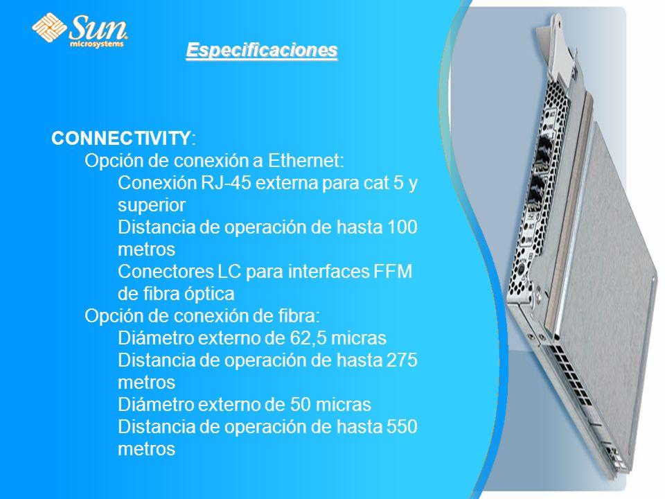 CONNECTIVITY: Opción de conexión a Ethernet: Conexión RJ-45 externa para cat 5 y superior Distancia de operación de hasta 100 metros Conectores LC para interfaces FFM de fibra óptica Opción de conexión de fibra: Diámetro externo de 62,5 micras Distancia de operación de hasta 275 metros Diámetro externo de 50 micras Distancia de operación de hasta 550 metros Especificaciones