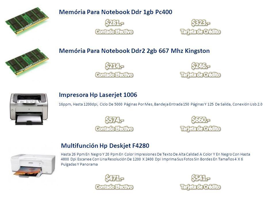 Memória Para Notebook Ddr 1gb Pc400 Memória Para Notebook Ddr2 2gb 667 Mhz Kingston Impresora Hp Laserjet 1006 16ppm, Hasta 1200dpi, Ciclo De 5000 Pág