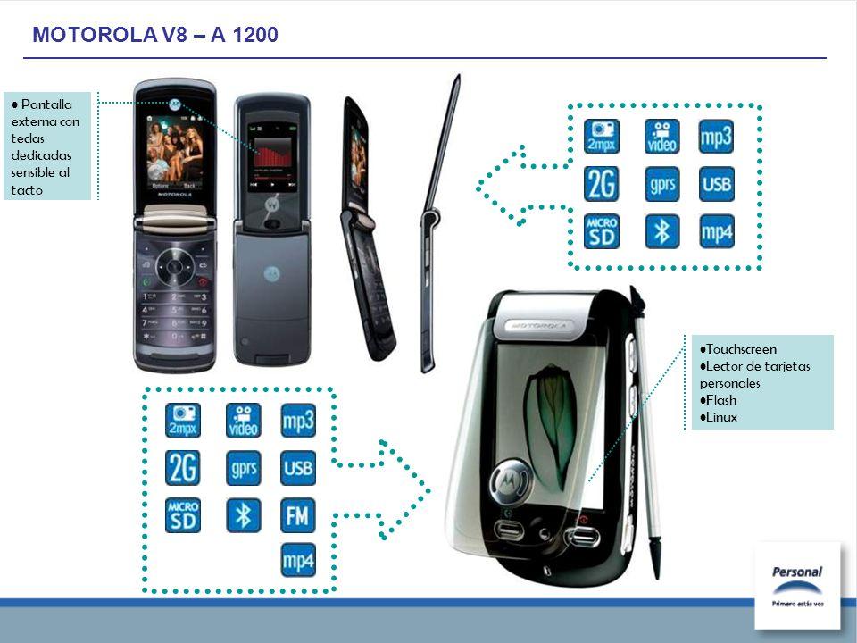 MOTOROLA V8 – A 1200 Touchscreen Lector de tarjetas personales Flash Linux Pantalla externa con teclas dedicadas sensible al tacto
