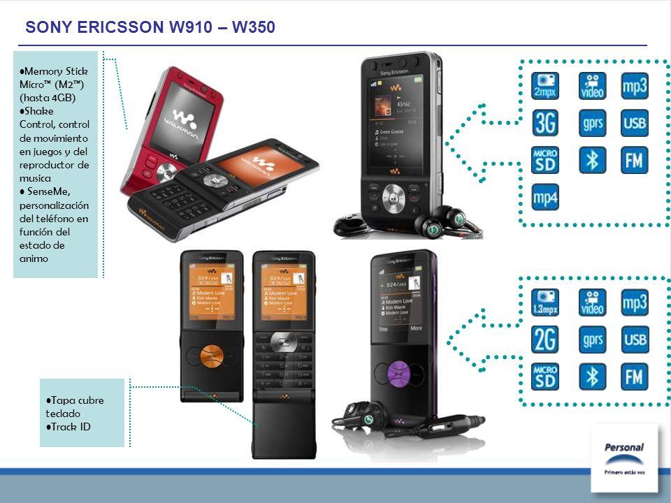 SONY ERICSSON W910 – W350 Memory Stick Micro (M2) (hasta 4GB) Shake Control, control de movimiento en juegos y del reproductor de musica SenseMe, personalización del teléfono en función del estado de animo Tapa cubre teclado Track ID