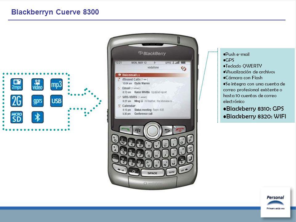 Blackberryn Cuerve 8300 Push e-mail GPS Teclado QWERTY Visualización de archivos Cámara con Flash Se integra con una cuenta de correo profesional existente o hasta 10 cuentas de correo electrónico Blackberry 8310: GPS Blackberry 8320: WIFI