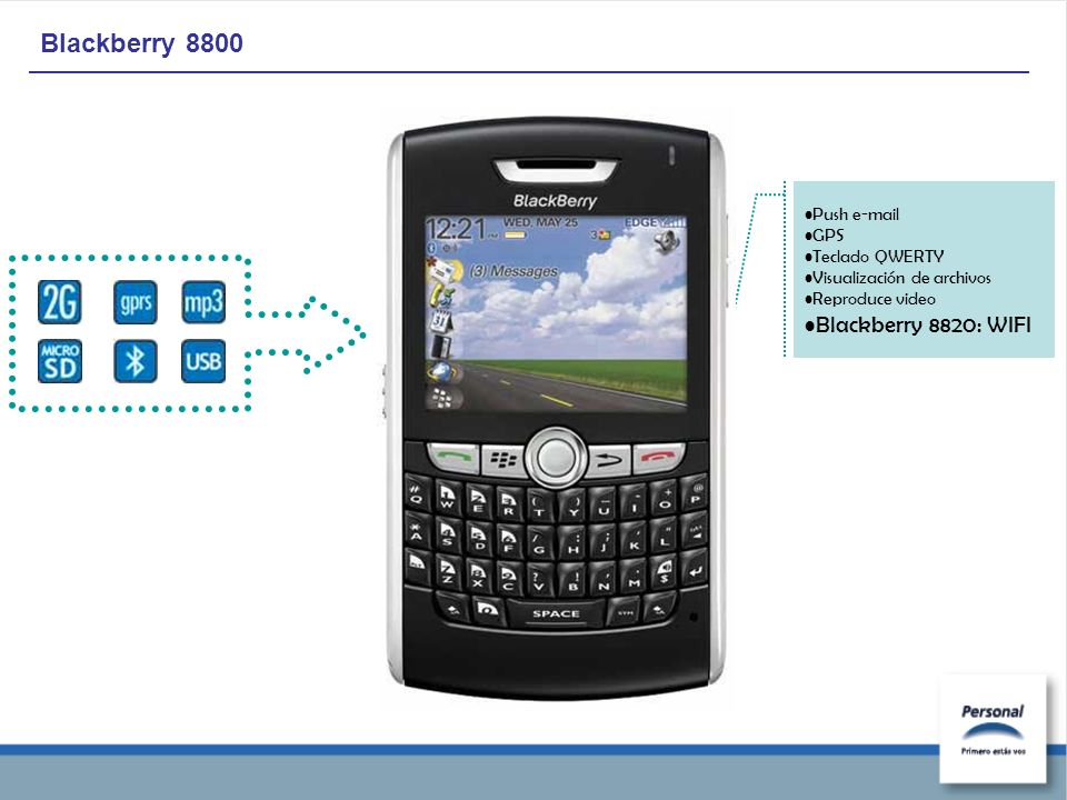 Blackberry 8800 Push e-mail GPS Teclado QWERTY Visualización de archivos Reproduce video Blackberry 8820: WIFI