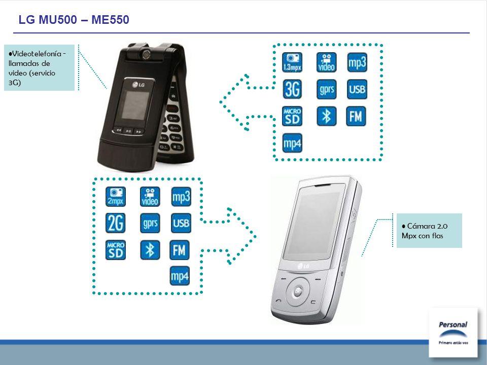 LG MU500 – ME550 Cámara 2.0 Mpx con flas Videotelefonía - llamadas de video (servicio 3G)