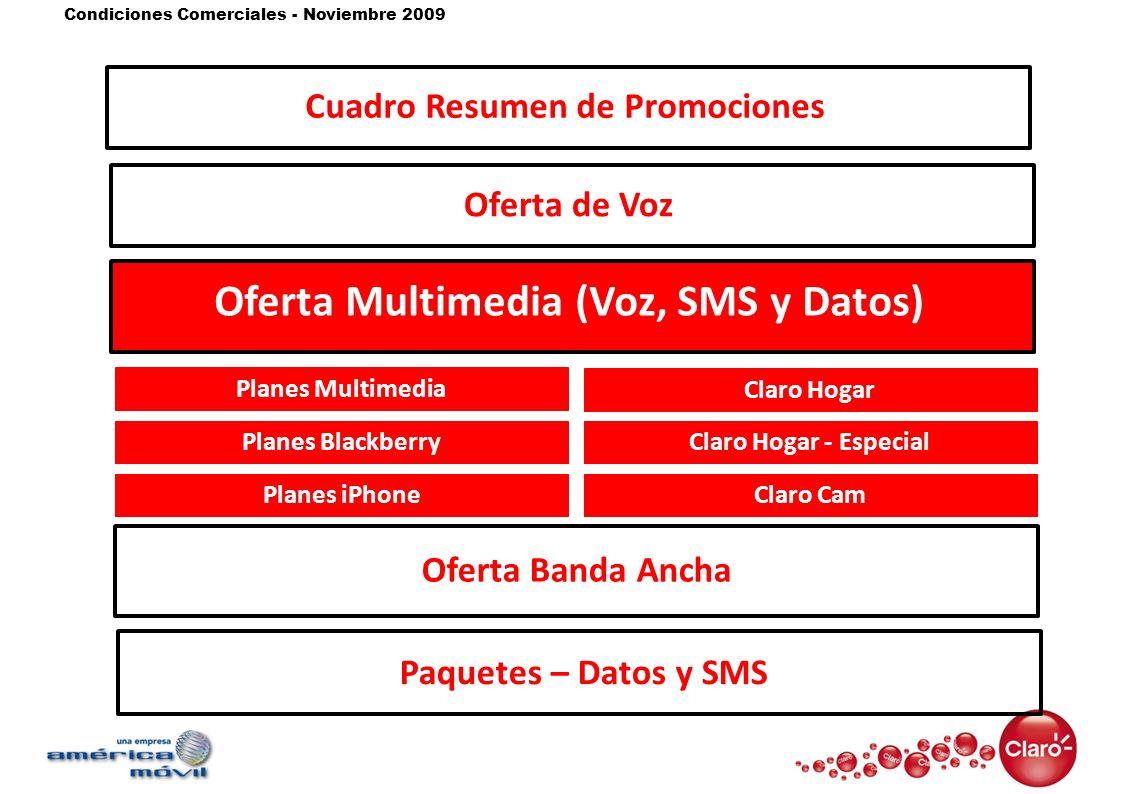 Condiciones Comerciales - Noviembre 2009 Oferta de Voz Oferta Multimedia (Voz, SMS y Datos) Oferta Banda Ancha Paquetes – Datos y SMS Planes Multimedi