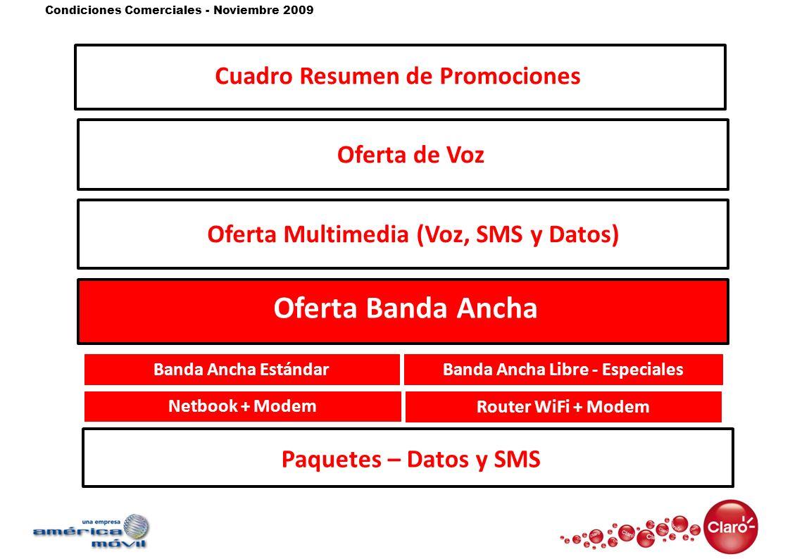 Condiciones Comerciales - Noviembre 2009 Oferta de Voz Oferta Multimedia (Voz, SMS y Datos) Oferta Banda Ancha Banda Ancha EstándarBanda Ancha Libre -