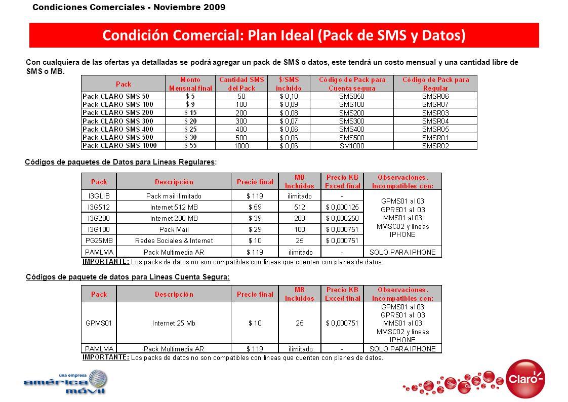 Condiciones Comerciales - Noviembre 2009 Condición Comercial: Plan Ideal (Pack de SMS y Datos) Con cualquiera de las ofertas ya detalladas se podrá ag