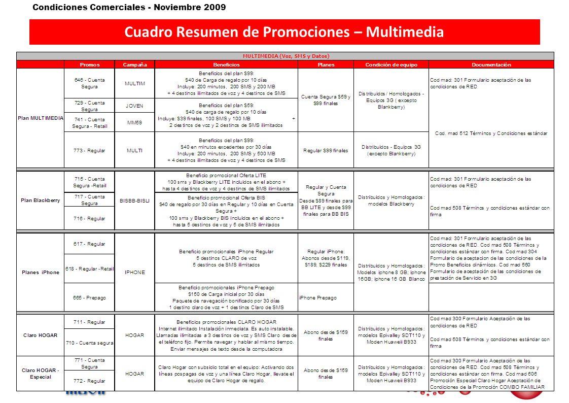Condiciones Comerciales - Noviembre 2009 Cuadro Resumen de Promociones – Banda Ancha