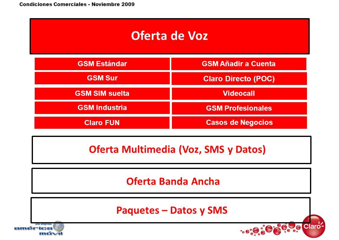 Condiciones Comerciales - Noviembre 2009 Oferta de Voz Oferta Multimedia (Voz, SMS y Datos)Oferta Banda Ancha GSM Sur GSM Estándar GSM Industria Claro