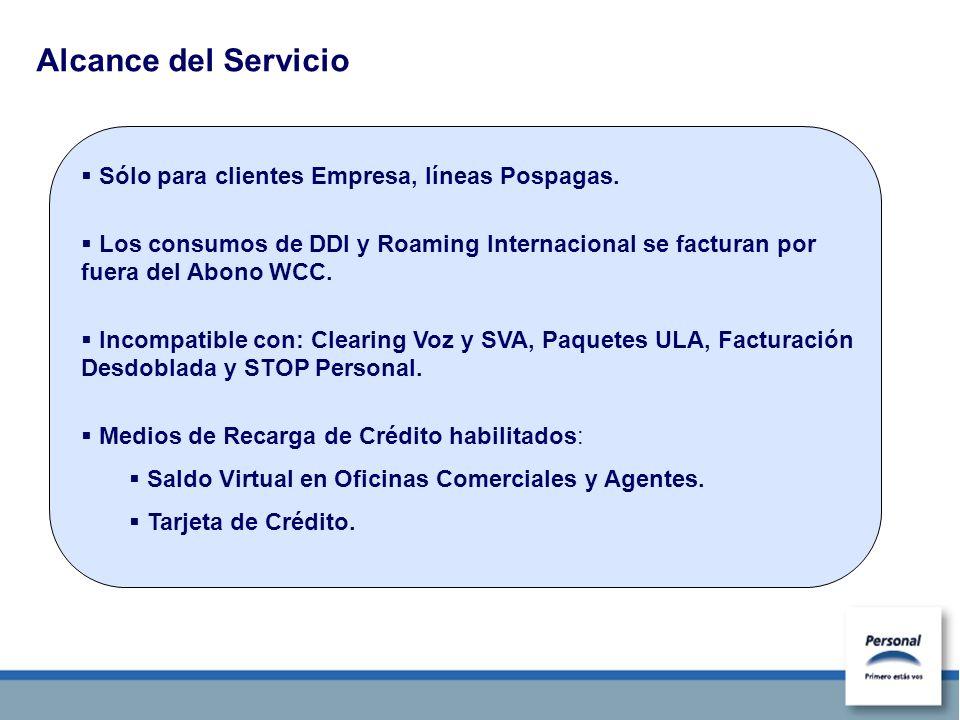 Alcance del Servicio Sólo para clientes Empresa, líneas Pospagas. Los consumos de DDI y Roaming Internacional se facturan por fuera del Abono WCC. Inc