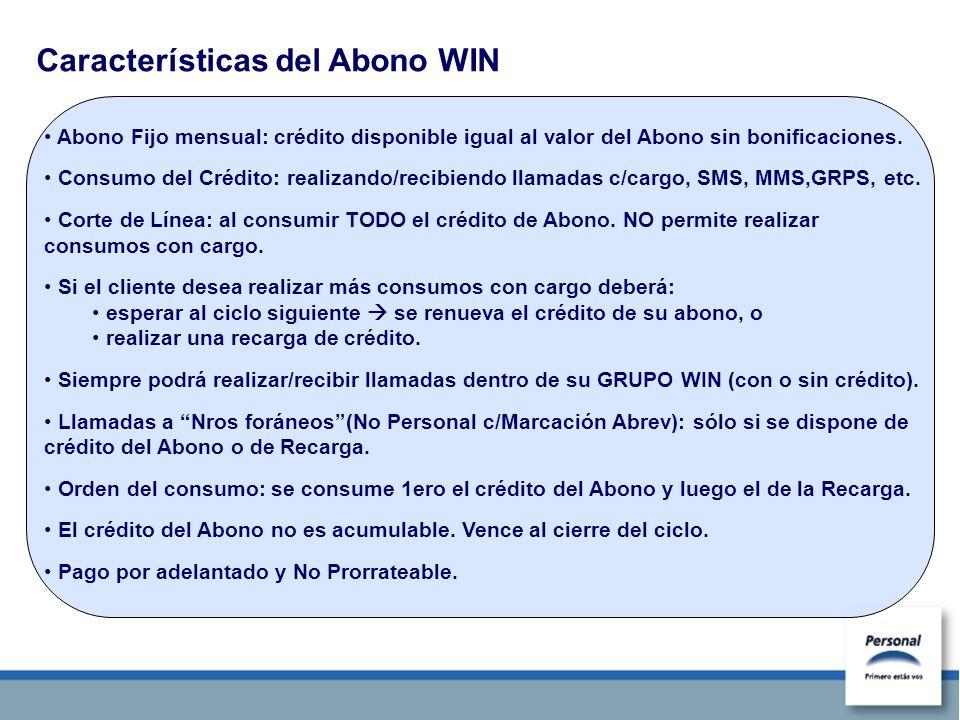 Características del Abono WIN Abono Fijo mensual: crédito disponible igual al valor del Abono sin bonificaciones. Consumo del Crédito: realizando/reci