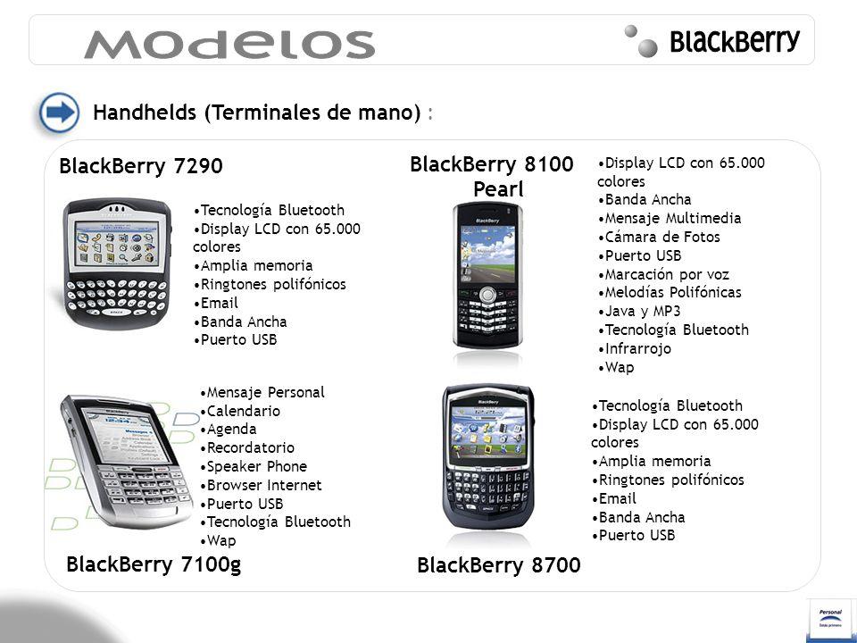 Handhelds (Terminales de mano) : BlackBerry 7290 BlackBerry 7100g Tecnología Bluetooth Display LCD con 65.000 colores Amplia memoria Ringtones polifón