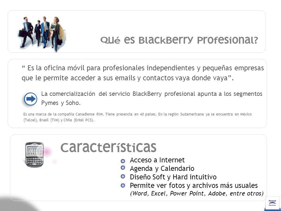 La cuenta Personal BlackBerry® puede ser integrada con hasta 10 (diez) cuentas de correo de otros ISP (Proveedores de servicio de Internet).