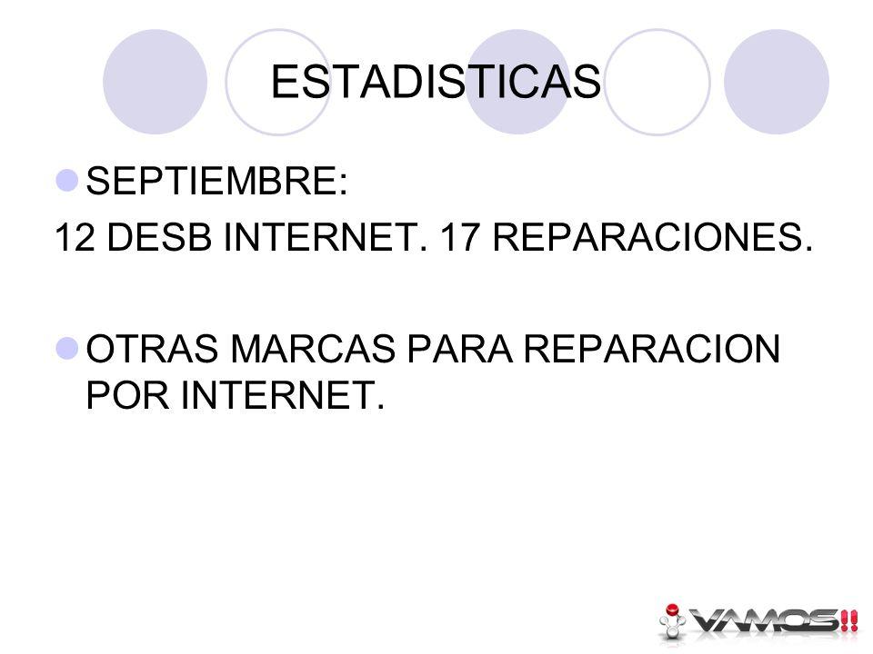 ESTADISTICAS SEPTIEMBRE: 12 DESB INTERNET. 17 REPARACIONES.