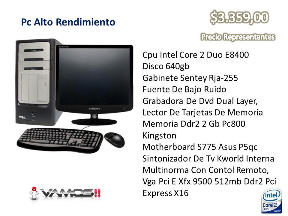Pc Alto Rendimiento Cpu Intel Core 2 Duo E8400 Disco 640gb Gabinete Sentey Rja-255 Fuente De Bajo Ruido Grabadora De Dvd Dual Layer, Lector De Tarjeta