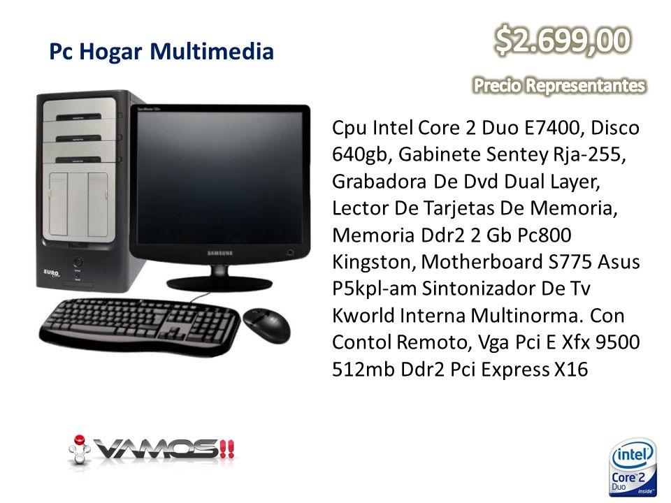 Pc Hogar Multimedia Cpu Intel Core 2 Duo E7400, Disco 640gb, Gabinete Sentey Rja-255, Grabadora De Dvd Dual Layer, Lector De Tarjetas De Memoria, Memo