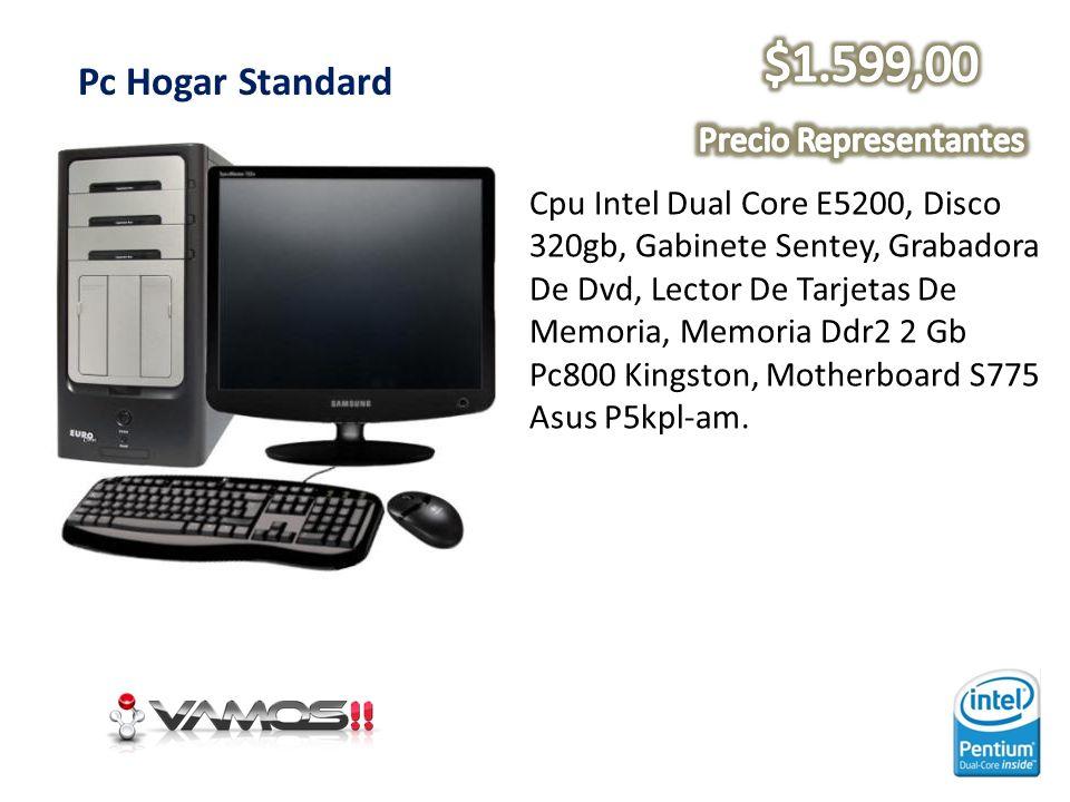 Pc Hogar Standard Cpu Intel Dual Core E5200, Disco 320gb, Gabinete Sentey, Grabadora De Dvd, Lector De Tarjetas De Memoria, Memoria Ddr2 2 Gb Pc800 Ki