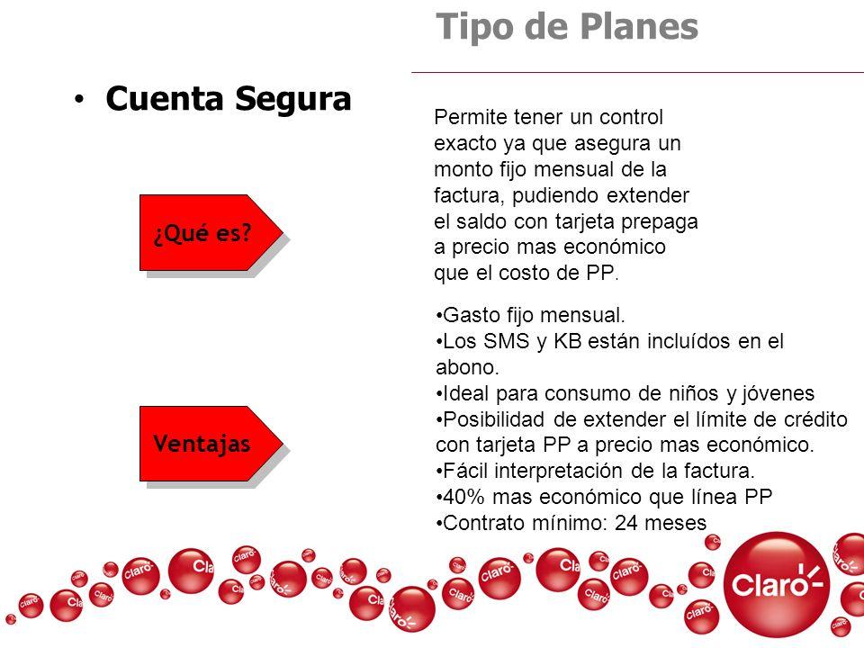 Cuenta Segura Tipo de Planes Gasto fijo mensual. Los SMS y KB están incluídos en el abono. Ideal para consumo de niños y jóvenes Posibilidad de extend
